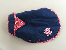 New listing Denim Dog Coat Poochi Canine Couture Label Reversible Red Paisley Nice Condition