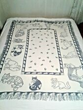 Mww Vintage 1991 Reversible Cats Fringed Blanket/Throw 64 x 49