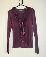 Bolongaro Trevor Allsaints Founder Plum Jersey Top Cotton/Silk Size M