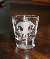 Shot Glass Punisher Skull Sandblast Etched 1 1/2 oz Thick Base