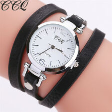 Women Stainless Steel Leather Watch Girl Bracelet Casual Analog Wrist Watches lb