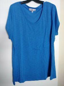 "Derek Heart Plus Blue S/Sleeve ""V"" neckline polyester/rayon burnout Tunic 680"