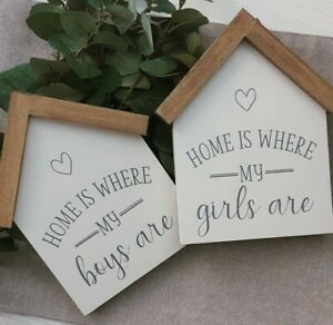 Home Is Where My Boys Girls Are House Sign Shelf Handmade Wooden Gift Rustic