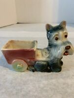 Vintage Mid-Century Scottie Dog With Cart Ceramic Planter Grey Dog