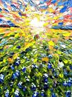 Texas original oil painting Bluebonnets field landscape sunset artwork abstract