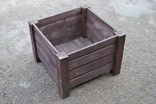 Very Big Squre Wooden Pot 55x55x40 cm of Solid Wood Spruce in Ebony Color