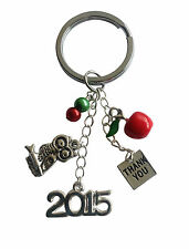 TEACHER THANK YOU 2018 STURDY KEY RING with FIVE CHARMS - SAME DAY POSTAGE