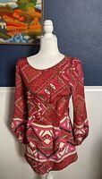 SYLK Geometric Aztec Pink Dress 100% Silk Sz Extra Small