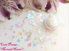 """Nail Art Chunky *Mermaid Hearts"""" Iridescent Holographic Mixed Hearts Glitter Pot"""