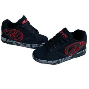 Heelys Propel 2.0 Skate Shoes Size 4 Youth Black & Red Suede EUC