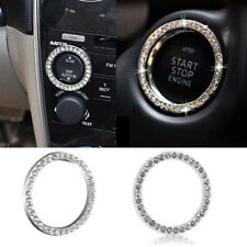 1x Car SUV Bling Decorative Accessories Button Start Switch Silver Diamond Ring