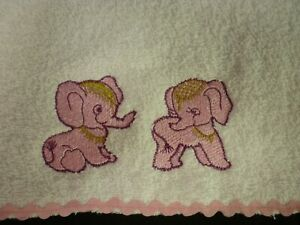 Babies Embroidered Towelling Bibs Collection of *ELEPHANTS* Designs sew-ezy-aust