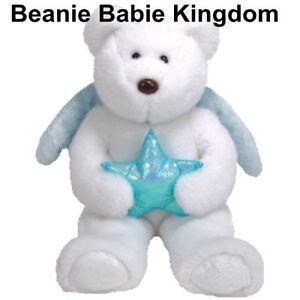 "Ty  Beanie Buddy * STAR *  WHITE Teddy BUDDIE Bear HOLDING A BLUE STAR 14"" 35 cm"