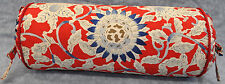 Ralph Lauren Cote D'Azur Red Floral Neck Roll or Bolster Pillow with Satin Cord