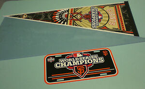2012 GIANTS WORLD SERIES CHAMPIONS PENNANT & LICENSE PLATE