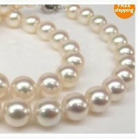 """Genuine AAA 8-9mm WHITE south sea AKOYA PEARL NECKLACE 18"""" 14K"""