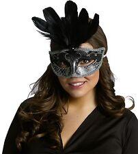 Black Silver Venetian Mask Mardi Gras Feather Costume Fancy Dress Womens Adult