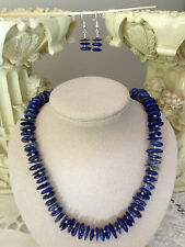 Lapis lazuli disc beads freshwater pearls and sterling silver necklace set