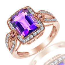 2.75 Ct Amethyst & Purple Diamond Accents & Diamond 10K Rose Gold Halo Ring