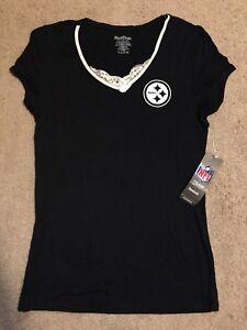 Rebok Team Apparel Womans Medium Black Top Pittsburgh Steelers Short Sleeve Top