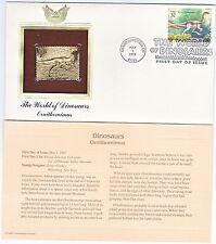 FDC-The World of Dinosaurs Ornithomimus- GOLD REPLICA Stamp