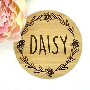 Personalised Wood Name Wall Door Plaque Sign Baby kids room Daisy Engraved Logo