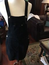 New  Seven 7 For All Mankind Overall Black Dress Silver Medium $249 Denim Stretc