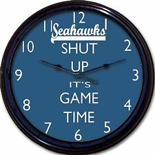 Seattle Seahawks Football Shut Up It's Game Time Wall Clock Nfl Man Cave 10""