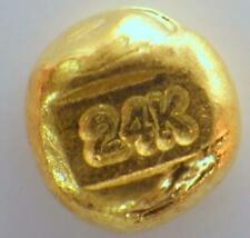 24K PURE GOLD Poured Refined  999.9 BOULLION Bullion Stamped 1.062 Grams