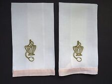Pair Vintage Linen Embroidered Hand Towels Gold Toned Perfume Bottles Atomizers