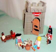 Playmobil LOT 3859 Pirate Prison Tower VTG Carcel 3 Pirates Scorpion Skull Book