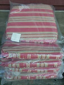 Set/5 Pottery Barn Piped Dining Chair Cushions Red Stripe NWT Zipper 100% Cotton