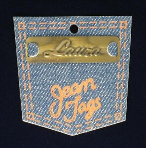 """Vintage Brass Sew On Name Tag 1 3/4"""" - """"Laura"""""""