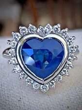 Beautiful Heart Shape 6.84CT Burma Blue Sapphire & Shiny CZ Halo Engagement Ring