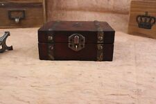 Decorative Trinket  Jewelry Storage Box Vintage Wooden Chest Treasure Case