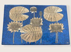 Gustavsberg Sweden Water Lilies Wall Plaque Heinz Erret Silver On Blue