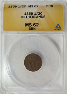 1859 Netherlands 1/2 Cent  ANACS MS 62 BRN