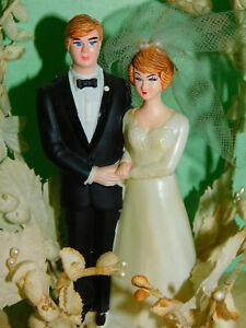 Vintage NOS WEDDING CAKE TOPPER Coast Hand Painted Bride Groom Floral Arch