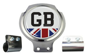 Scooter Bar Badge - GB TEXT Union Jack - FREE BRACKET & FIXINGS