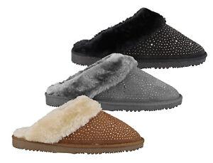 Womens Ella Charlotte Warm Vegan Fur Lined Memory Foam Mules Slippers
