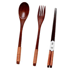 Portable Lunch Tableware Set Natural Wooden Fork+Spoon+Chopsticks Cutlery