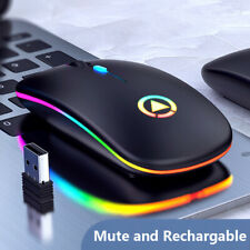 Gaming Mouse Bluetooth Wireless LED/RGB Lighting Backlit USB Rechargeable