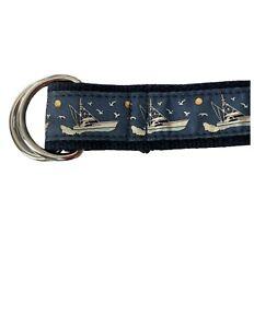 Vineyard Vines D Ring Adjustable Belt Mens Medium Fishing Boats Belt
