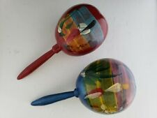 """Hand Painted Wood Gourd Mexico & Cozumel Musical Percussion 2 Maracas Shakers 8"""""""