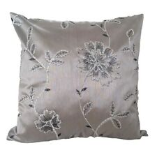 "Satin S.Gray Flower Embriodery 18x18"" Decorative/Throw Pillow Case/Cushion Cover"