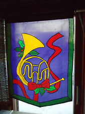 """Vintage New French Horn with Holly 39""""T x 28""""W Large Garden Decorative Flag"""