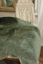 Italian 18th century silk damask valance green textile Antique early 1700's