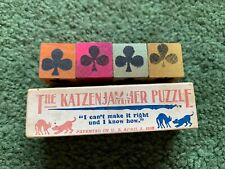 ANTIQUE THE KATZENJAMMER PUZZLE WOOD BLOCKS DICE 1906 DRUG STORE LABEL