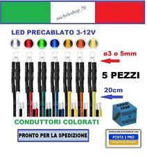 5 pezzi diodo led ø3 o 5mm con filo 20cm lente trasparente 3-12V pre cablato