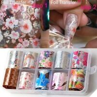 10 Rolls Holographic Nail Foil Set Transparent Flower Nail Art Transfer Sticker